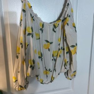 Lemon longsleeve off the shoulder top